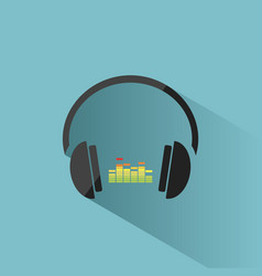 color headphones with music icon on blue vector image vector image