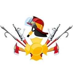 Equipment and tools fireman vector image