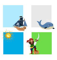 pirate treasure cards adventure sea vector image