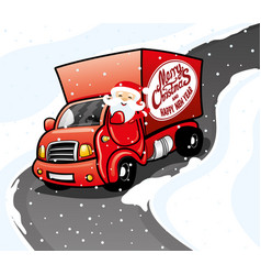 santa claus in a red truck vector image