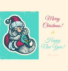 vintage card with santa vector image vector image