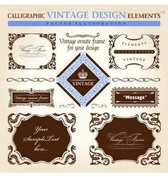 vintage frame ornament set vector element decor vector image vector image
