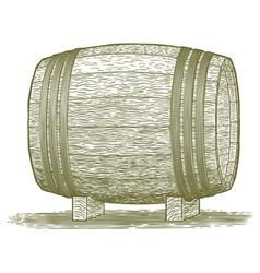 Woodcut whiskey barrel vector