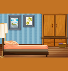 bedroom scene with bed and wooden closet vector image vector image