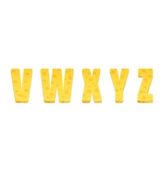 Cheese alphabet set Letters V-Z vector image vector image