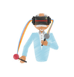 drawing man wearing vr goggles control vector image vector image
