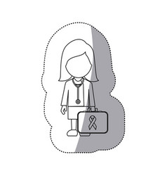 figure professional lady-doctor with emergency vector image