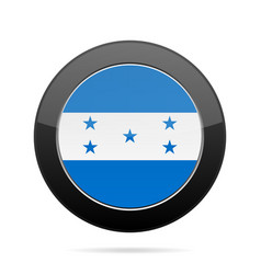 flag of honduras shiny black round button vector image vector image