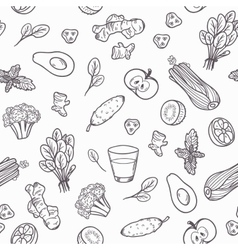 Hand drawn outline vegetables seamless pattern in vector