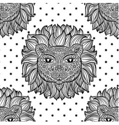 Seamless pattern with a lion head and stars on a vector
