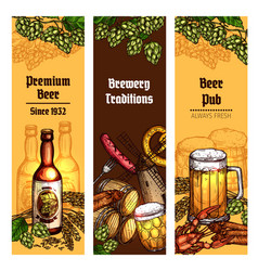 beer with snacks banner for pub brewery design vector image