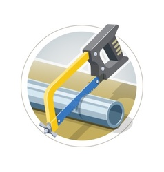 Hacksaw cut metallic pipe vector image vector image