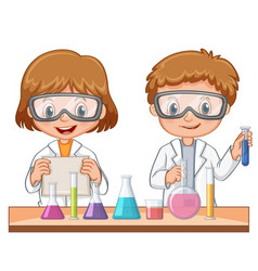 two students do science experiment vector image vector image