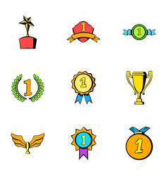 victory icons set cartoon style vector image vector image