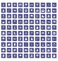 100 winter holidays icons set grunge sapphire vector image vector image