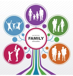 Abstract tree with family silhouettes vector image vector image