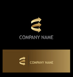 arrow shape gold logo vector image