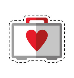 cartoon first aid kit emergency heart care vector image