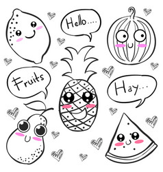 Doodle of fruit hand draw collection vector