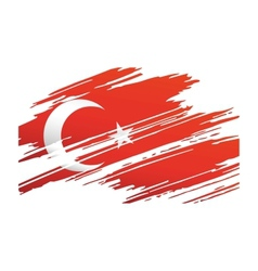 Flag Turkey in the form traces brush vector image vector image