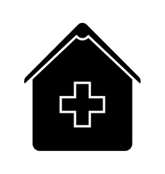 hospital silhouette isolated icon vector image