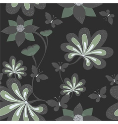 Seamless background with butterfly ang flower vector image vector image