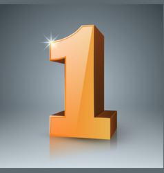 3d one icon on the grey background vector image