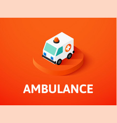 Ambulance isometric icon isolated on color vector