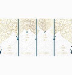 Arabesque abstract islamic element classy white vector