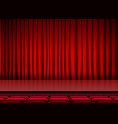 Auditorium stage threater with red curtains and vector