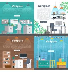 Banner set Office workplace interior design vector image