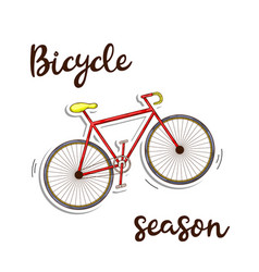 Bicycle season icon ed color in doddle style with vector