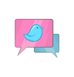 Bird on a speech bubble icon cartoon style vector image