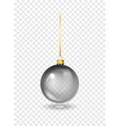 black christmas glass toys on a transparent vector image