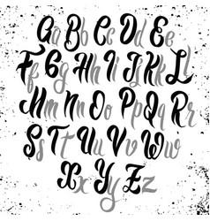 Brush lettering font alphabet hand drawn vector