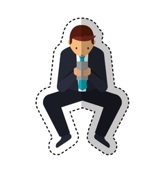 Businessman character with smartphone isolated vector