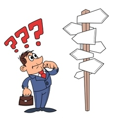 Businessman is confused by road sign 4 vector image
