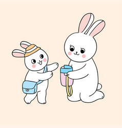 Cartoon cute back to school mother and baby rabbit vector