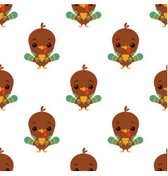 cartoon funny turkey pattern vector image