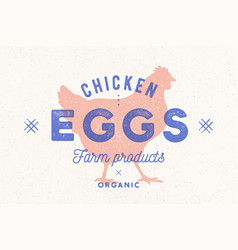 chicken eggs vintage hand drawn logo retro print vector image