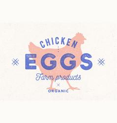 chicken eggs vintage hand drawn logo retro print vector image