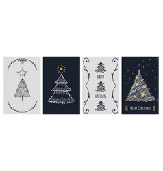 christmas cards template doodle xmas tree vector image