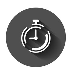 Clock timer icon in flat style time alarm with vector