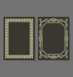 Collection frames golden color isolated on black vector