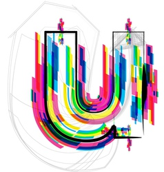 Colorful Font - Letter u vector