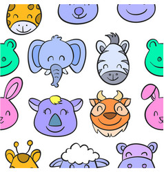 colorful various animal doodle style vector image