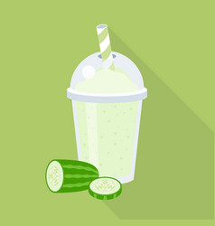 cucumber juice or smoothie in plastic glass vector image