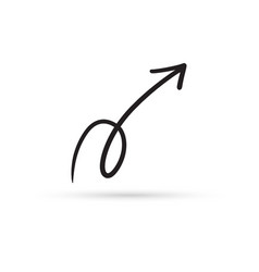 curve arrow draw doodle brush sketch cartoon vector image