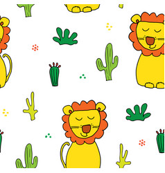 cute lion seamless pattern cartoon hand drawn vector image