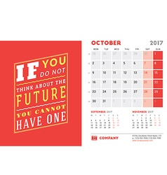 Desk Calendar Template for 2017 Year October vector image
